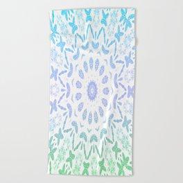 Ombre Mandala Blue Green Beach Towel