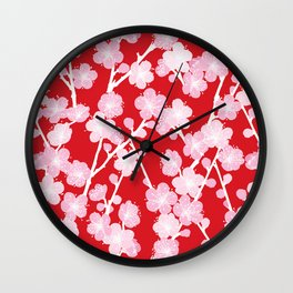 Red Cherry Blossom Pattern Wall Clock