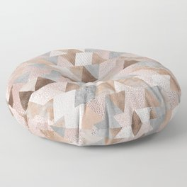 Copper and Blush Rose Gold Marble Triangles Floor Pillow