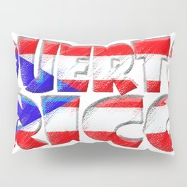 Puerto Rico Font with Puerto Rican Flag Pillow Sham