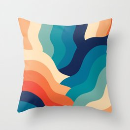 Retro 80s Blue and Orange Mid-Century Minimalist Abstract Art Waves Throw Pillow