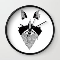raccoon Wall Clocks featuring Raccoon by Art & Be