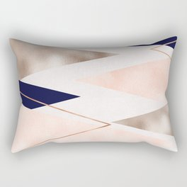 Rose gold french navy geometric Rectangular Pillow