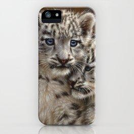 Snow Leopard Cubs - Playmates iPhone Case