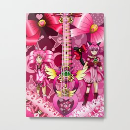 Sailor Mew Guitar #8 - Sailor Chibi Moon & Mew Ichigo Metal Print