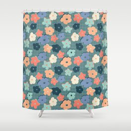 Peach and Aqua Flower Grid Shower Curtain
