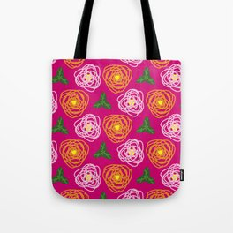 Bright pink floral Tote Bag
