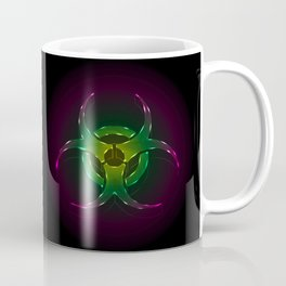 An illustration of a fluorescent biohazard symbol.  Coffee Mug