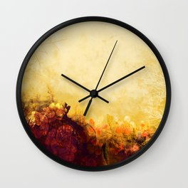 LOVELY FLOWERS ARE KISSING A YELLOW FIELD Wall Clock