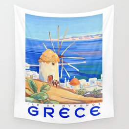 1949 Greece Island of Mykonos Travel Poster Wall Tapestry