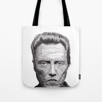 christopher walken Tote Bags featuring Christopher by Rik Reimert