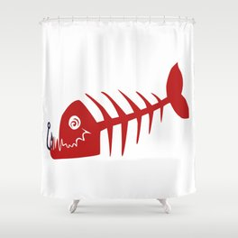 Pirate Bad Fish red- pezcado Shower Curtain