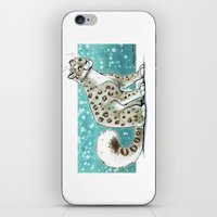 snow leopard iPhone & iPod Skins featuring Snow Leopard by Seylyn