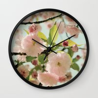 blush Wall Clocks featuring Blush by Bella Blue Photography