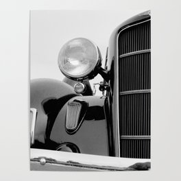 Vintage Black Car   Luxury   Bedroom Art   Photography   Black and White Poster