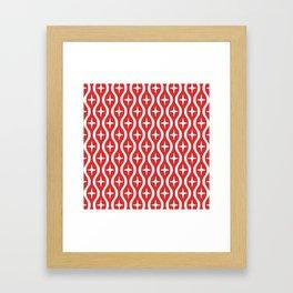 Mid century Modern Bulbous Star Pattern Red Framed Art Print