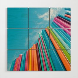 Colorful Rainbow Pipes Against Blue Sky Wood Wall Art