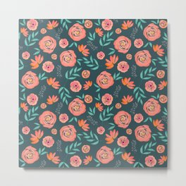 Pretty Coral Watercolor Floral Pattern on Green Metal Print