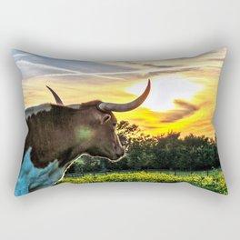 Illuminated Longhorn Sunset Rectangular Pillow