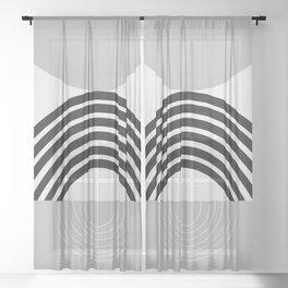 Black Gray White Sun Arch Balance #1 #minimal #abstract #art #society6 Sheer Curtain
