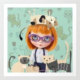 ERREGIRO BLYTHE DOLL CARMENCITA CATS Art Print