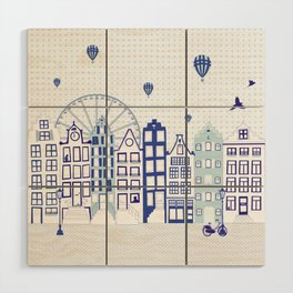 Dutch canal houses from Amsterdam in delft blue Wood Wall Art