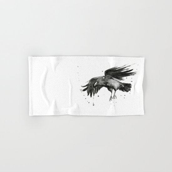 Raven Watercolor Bird Painting Black Animals Hand & Bath Towel