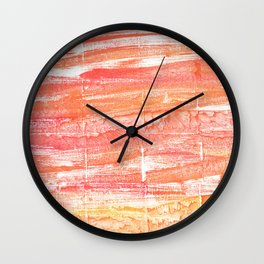 Vivid tangerine abstract watercolor Wall Clock