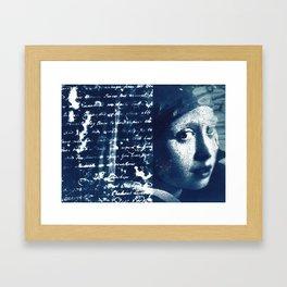 Fragments of the Past (4), art print, collage, blue print, cyanotype print, wall art, wall decor Framed Art Print