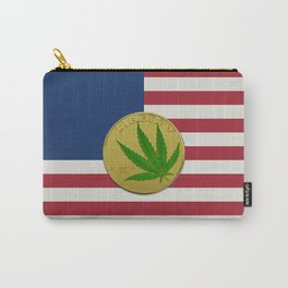 In Weed We Trust - Coin on USA flag Carry-All Pouch