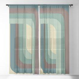 Abstract Retro Stripes Sheer Curtain