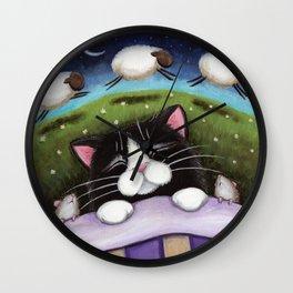 Cat - Sheep Dreams Wall Clock