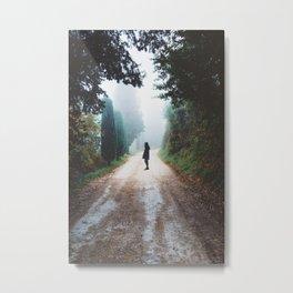 Girl on Nature Path Metal Print
