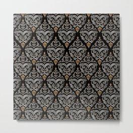 Persian Oriental Pattern - Watercolor black and gold Metal Print