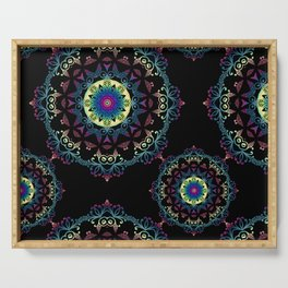 Abstract mandala-pattern on the black background Serving Tray