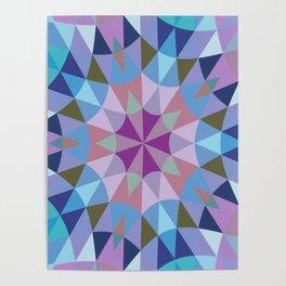 Retro Geometry Mandala Lavender Blue Poster