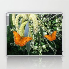butterflies and wattle with green abstract bouquet Laptop & iPad Skin