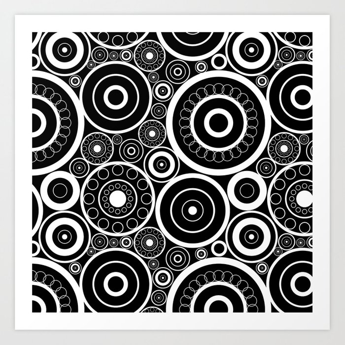 Abstract black and white pattern. Art Print