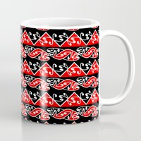 maori Mugs featuring Kowhaiwhai Traditional Maori Koru Pattern by mailboxdisco