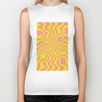 yellow pattern Biker Tanks featuring Pattern yellow wave by LoRo  Art & Pictures