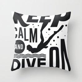 Keep Calm Freediving Gifts For Apnea Freedivers Throw Pillow