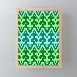 Moroccan Ikat Damask, Turquoise & Jade Green Framed Mini Art Print