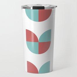 Geometric abstract mid century modern retro tulip flowers - red and blue Travel Mug
