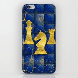 Lapis Lazuli Chessboard and Gold Chess Pieces iPhone Skin