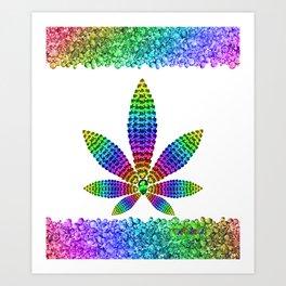 Rainbow Gems Cannabis Leaf (on White) Art Print
