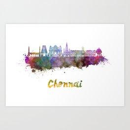 Chennai skyline in watercolor Art Print