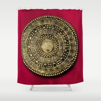 gladiator Shower Curtains featuring Roman Gladiator Shield - Trick or Treat bag by Joel M Young