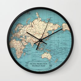 Pacific Projection World Map Wall Clock