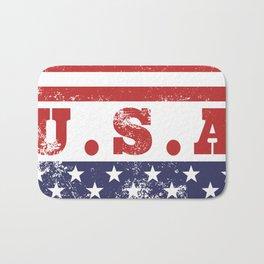 USA Patriotic Rubber Stamp Icon Bath Mat
