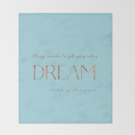 Always remember to fall asleep with a dream - Gold Teal Vintage Glitter Typography Throw Blanket